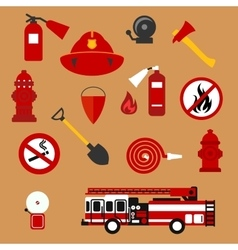 Fire safety firefighter and protection flat icons vector