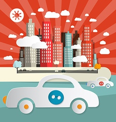 Paper Cars in City - Town Abstract Flat Design vector image