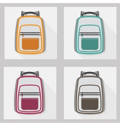 School bags and back packs icon set pattern vector