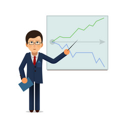 business man standing with progress chart graph at vector image