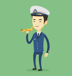 Cheerful airplane pilot with model of airplane vector