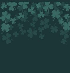 clover trefoil dark green card background vector image