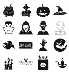 Halloween black simple icons vector image