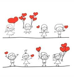 happy kid and love characters vector image