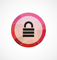 lock circle pink triangle background icon vector image vector image