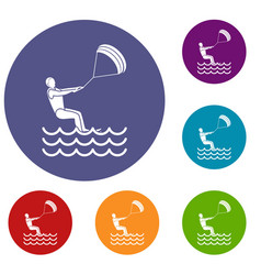 man takes part at kitesurfing icons set vector image vector image