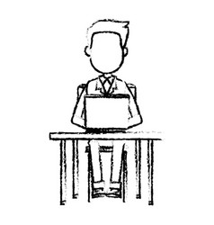 person working on computer sitting on a chair vector image