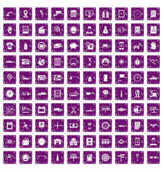100 auto repair icons set grunge purple vector image