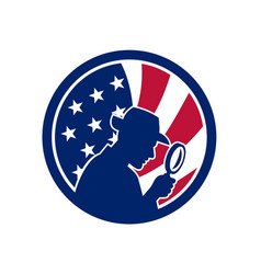 American private investigator usa flag icon vector
