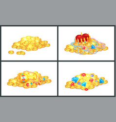 Ancient precious shiny treasures in big heaps set vector