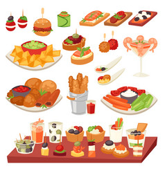 Appetizer appetizing food and snack meal or vector