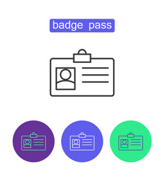Badge pass outline icons set vector