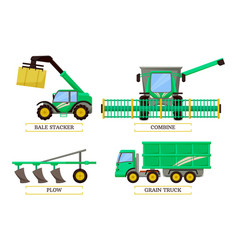 Bale stacker and combine set vector