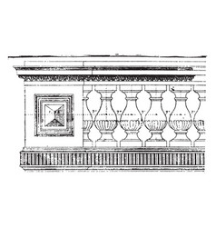 Balustrade woodwork vintage engraving vector