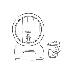 barrel and tumbler beer bubbles foam vector image