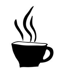 Black silhouette hand drawn of hot coffee cup vector