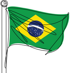 brazil national flag one continuous line icon vector image