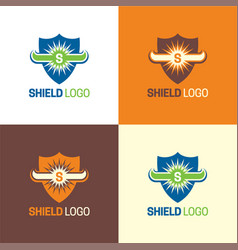 Bull horns shield logo and icon vector