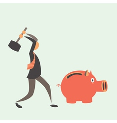 Business man breaking piggy bank with coins vector