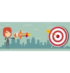 Business woman shooting target vector