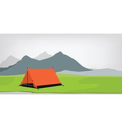 Camping tent mountains vector