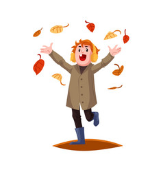cartoon boy kid falling autumn leaves vector image