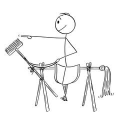 Cartoon man or businessman sitting on saddle vector