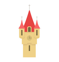 castle tower with red pointed domes icon vector image