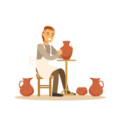 ceramist man making ceramic pots craft hobby or vector image