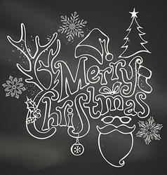 Chalk Merry Christmas Decoration vector