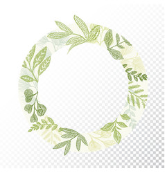 circle frame with green branches and leaves vector image