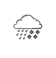 cloud with snow and rain hand drawn outline doodle vector image