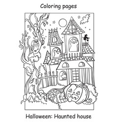 coloring halloween funny haunted house vector image