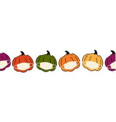corona pumpkin seamless border pumpkins vector image