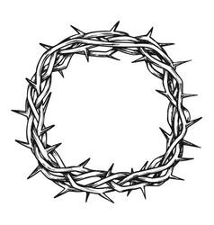 Crown of thorns jesus christ top view ink vector