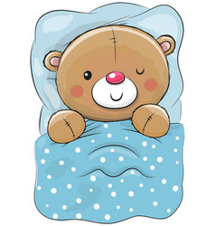 Cute cartoon sleeping teddy bear vector