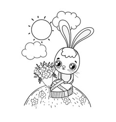cute rabbit with flowers boucket valentines day vector image