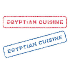 Egyptian cuisine textile stamps vector