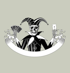 engraved human skeleton in a joker suit with a vector image