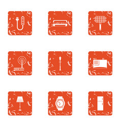 Fitter icons set grunge style vector