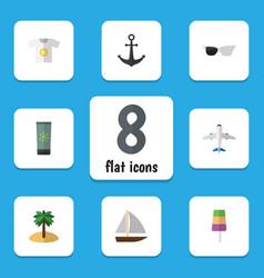 flat icon season set of clothes coconut ship vector image