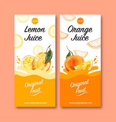 Flyer design with fruits themed creative orange vector