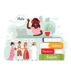 foreign language learning mobile learn contacts vector image