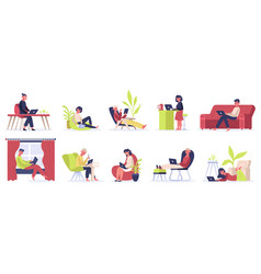 freelance working people young male and female vector image