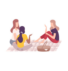 Friends having picnic in park people relaxing vector