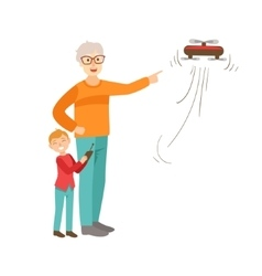 Grandfather And Grandson Flying A Drone Part Of vector image