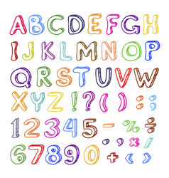 hand drawn cartoon alphabet set graphic art vector image