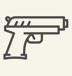 handgun line icon pistol vector image