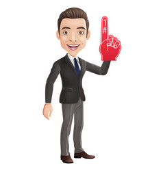 happy businessman showing number one vector image