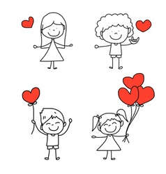 happy kid and love characters vector image